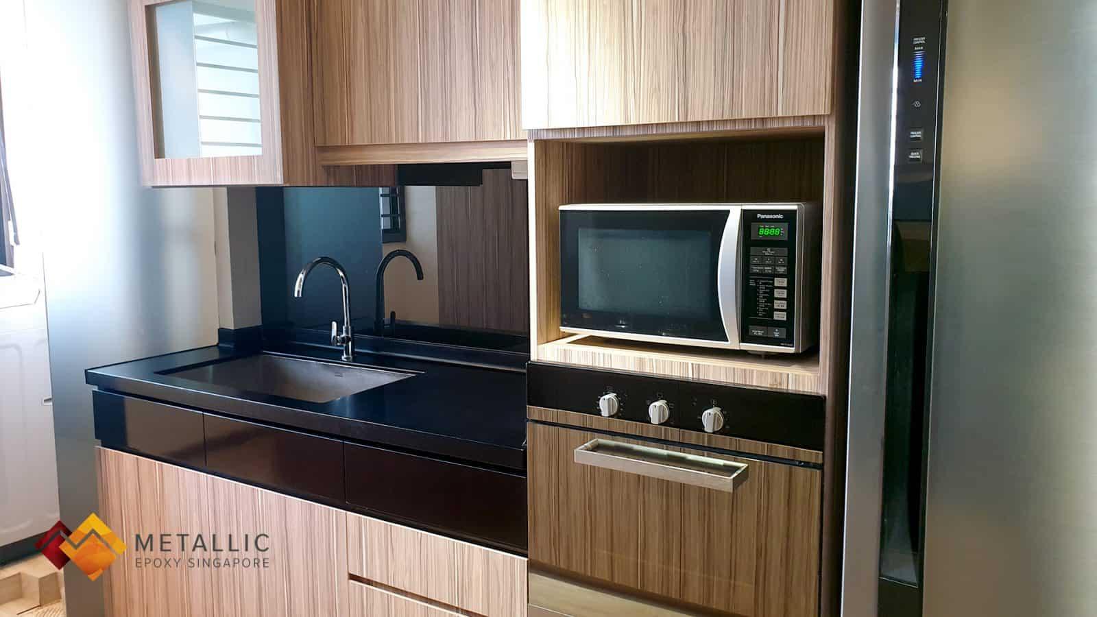 metallic epoxy black kitchen countertop