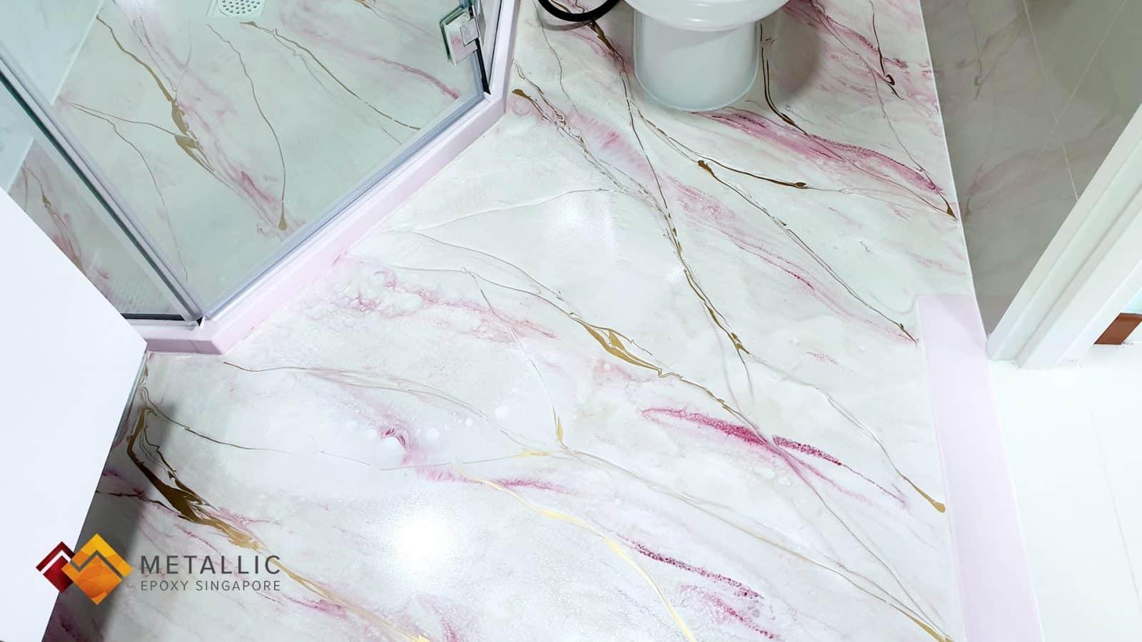 metallic epoxy pink bathroom floor