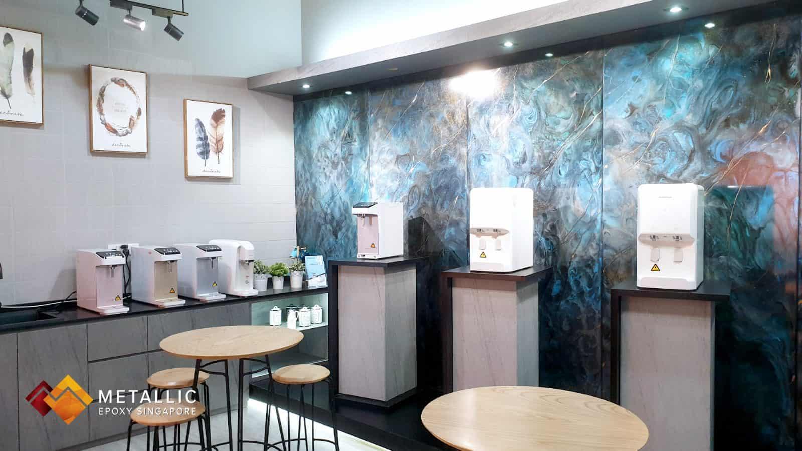 metallic epoxy blue galaxy wall feature