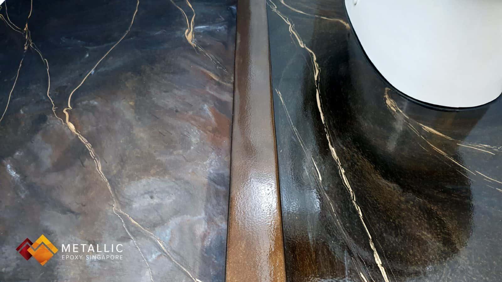 metallic epoxy coffee mixed bathroom floor