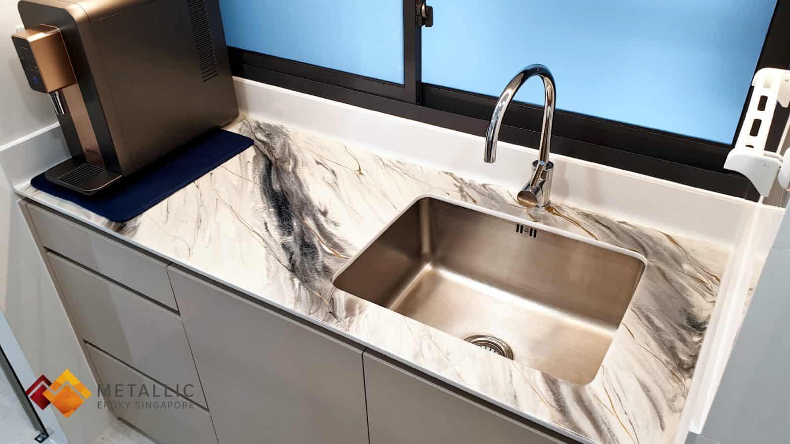 metallic epoxy black silver gold kitchen countertop