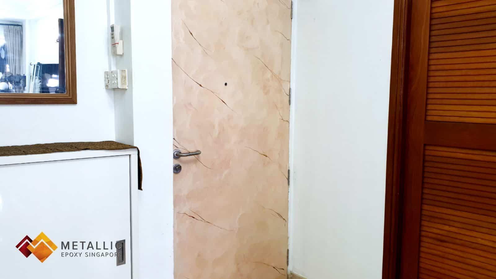 metallic epoxy door brown orange gold