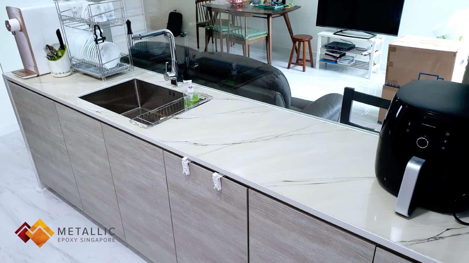 Metallic Epoxy Singapore black gold khaki marble kitchen countertop