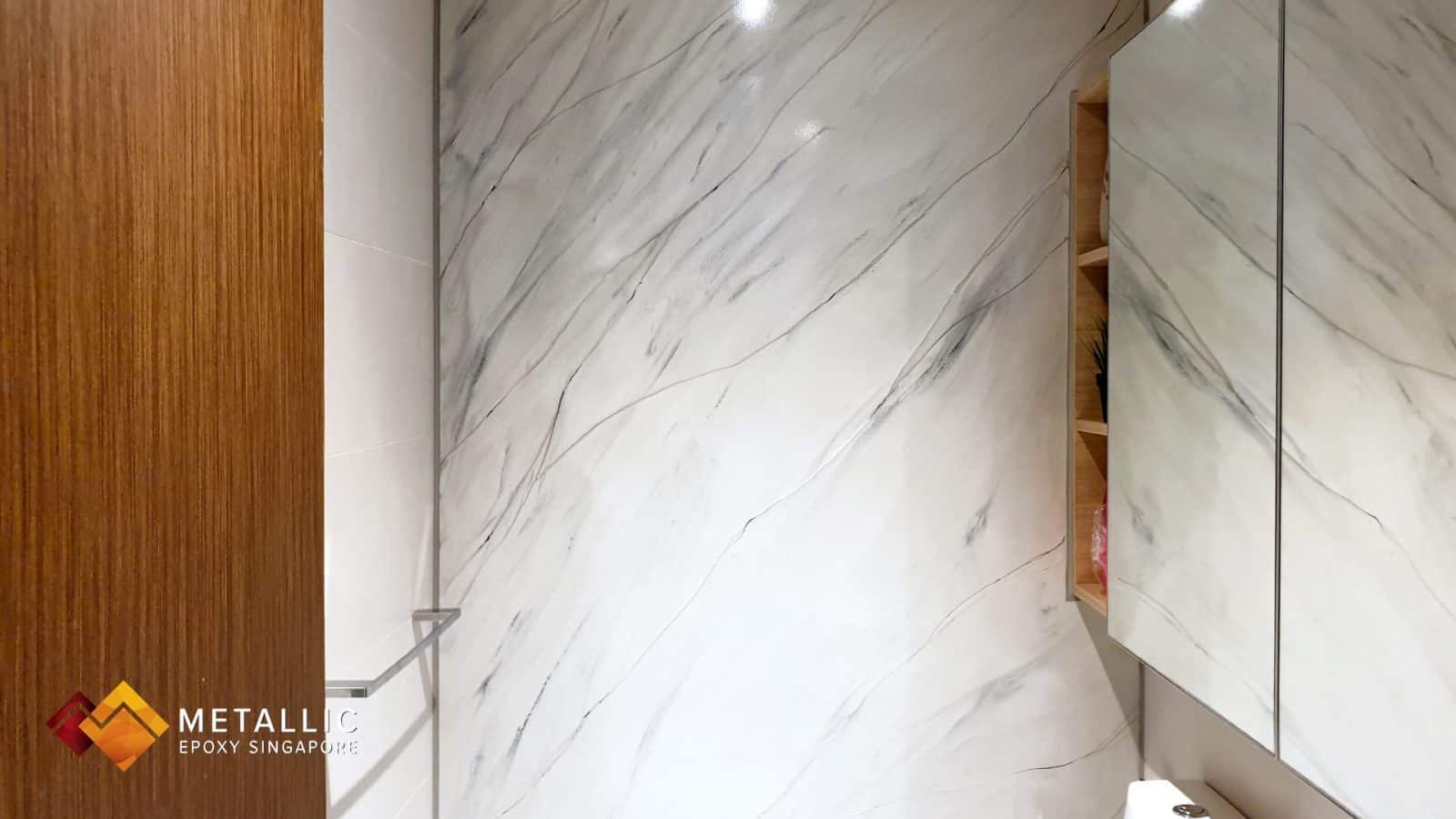 metallic epoxy singapore light grey marble bathroom design