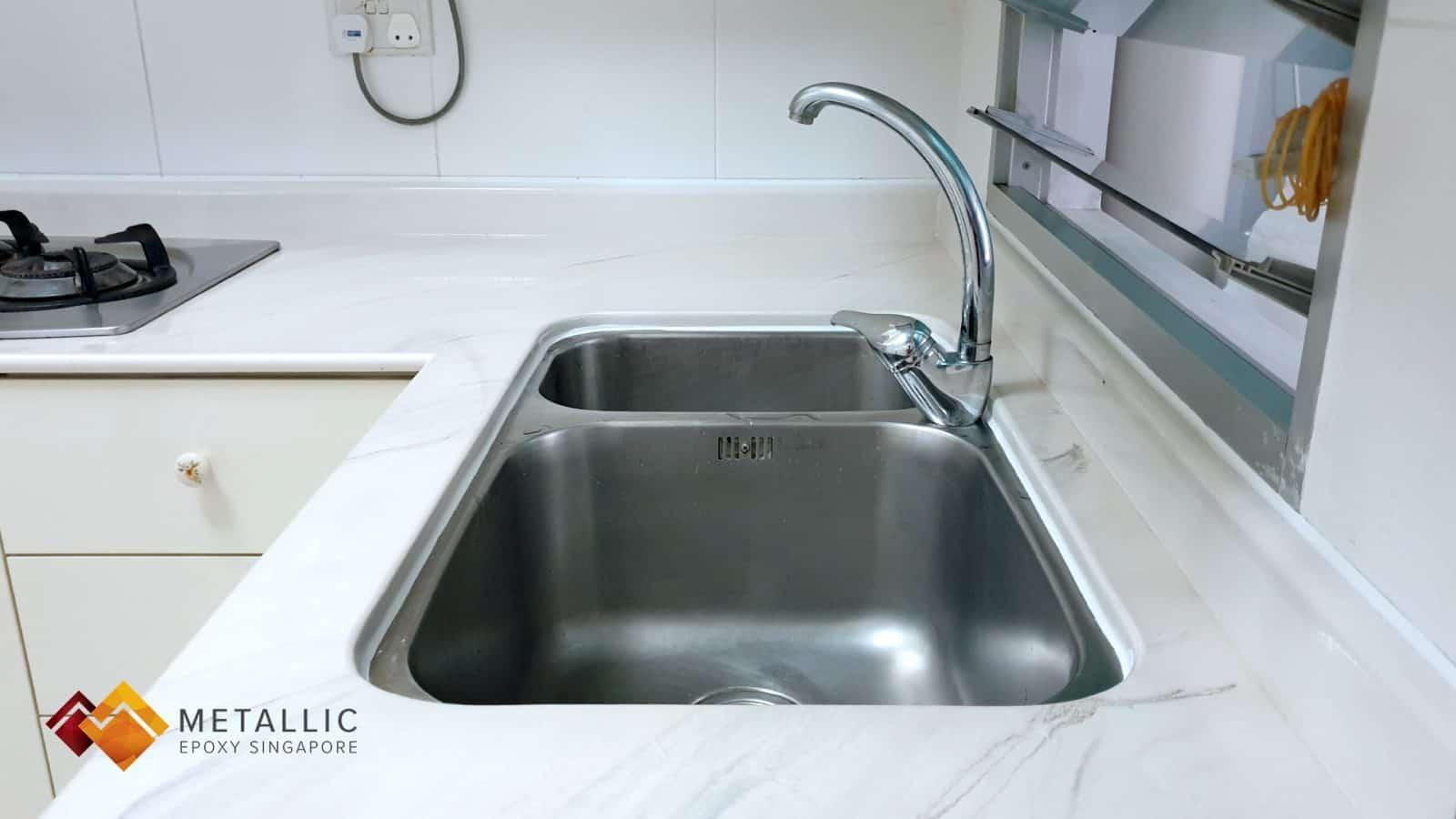 metallic epoxy singapore brown black marble kitchen countertop