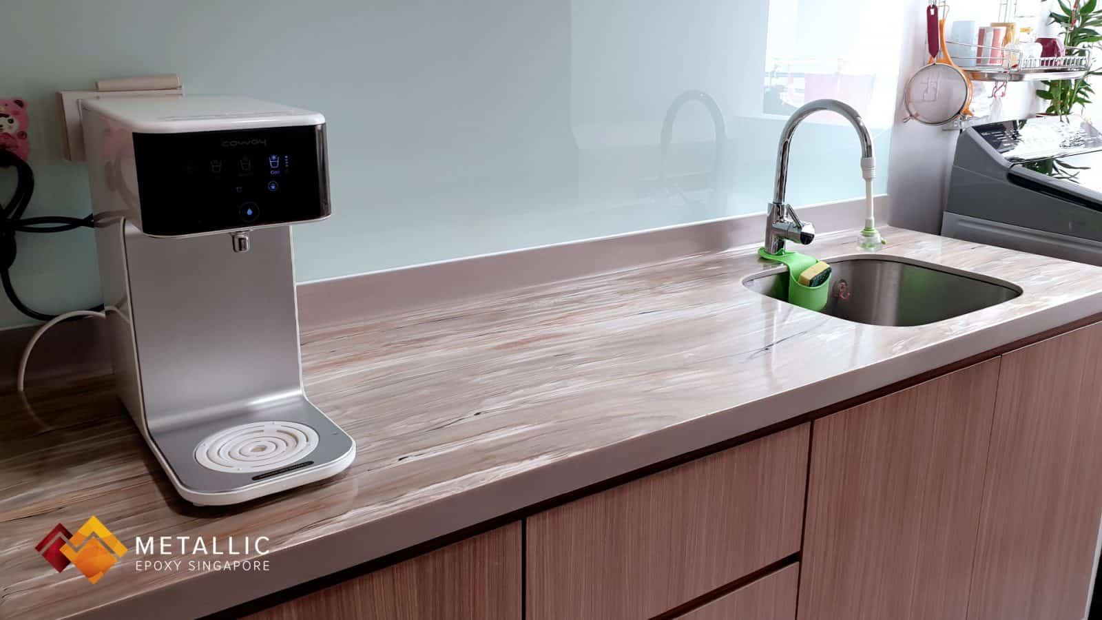 metallic epoxy singapore brown wood theme kitchen countertop
