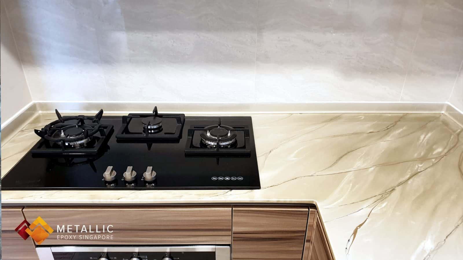 metallic epoxy singapore gold white khaki kitchen countertop