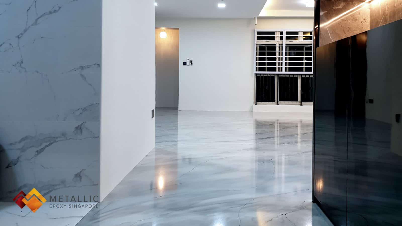 metallic epoxy singapore grey marble living room floor