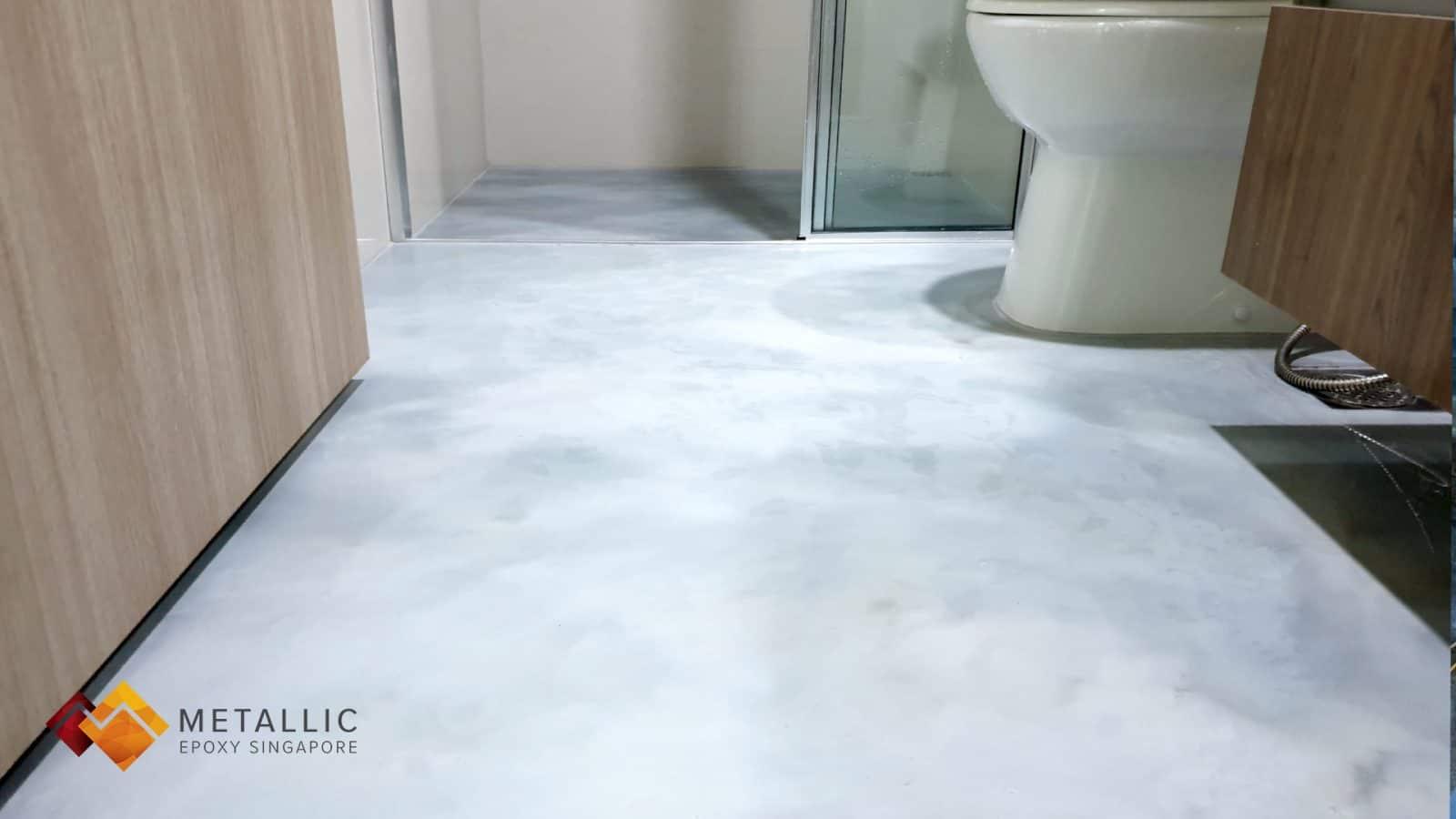 metallic epoxy singapore concrete bathroom floor