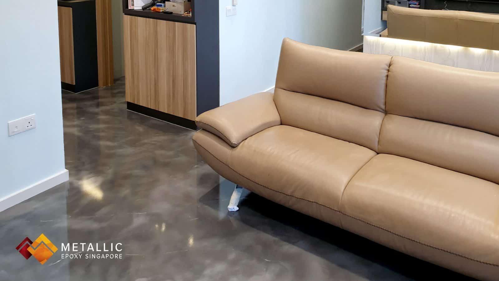 metallic epoxy singapore silver marble living room floor