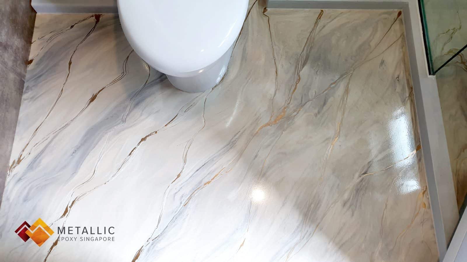 metallic epoxy singapore coffee gold brown marble bathroom floor