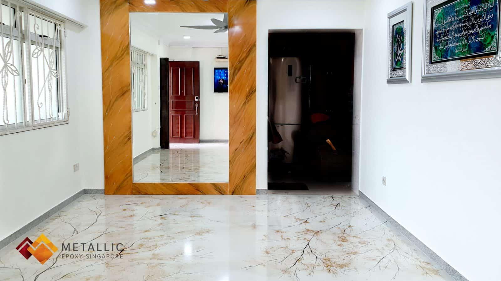 metallic epoxy singapore gold leaf tree living room floor
