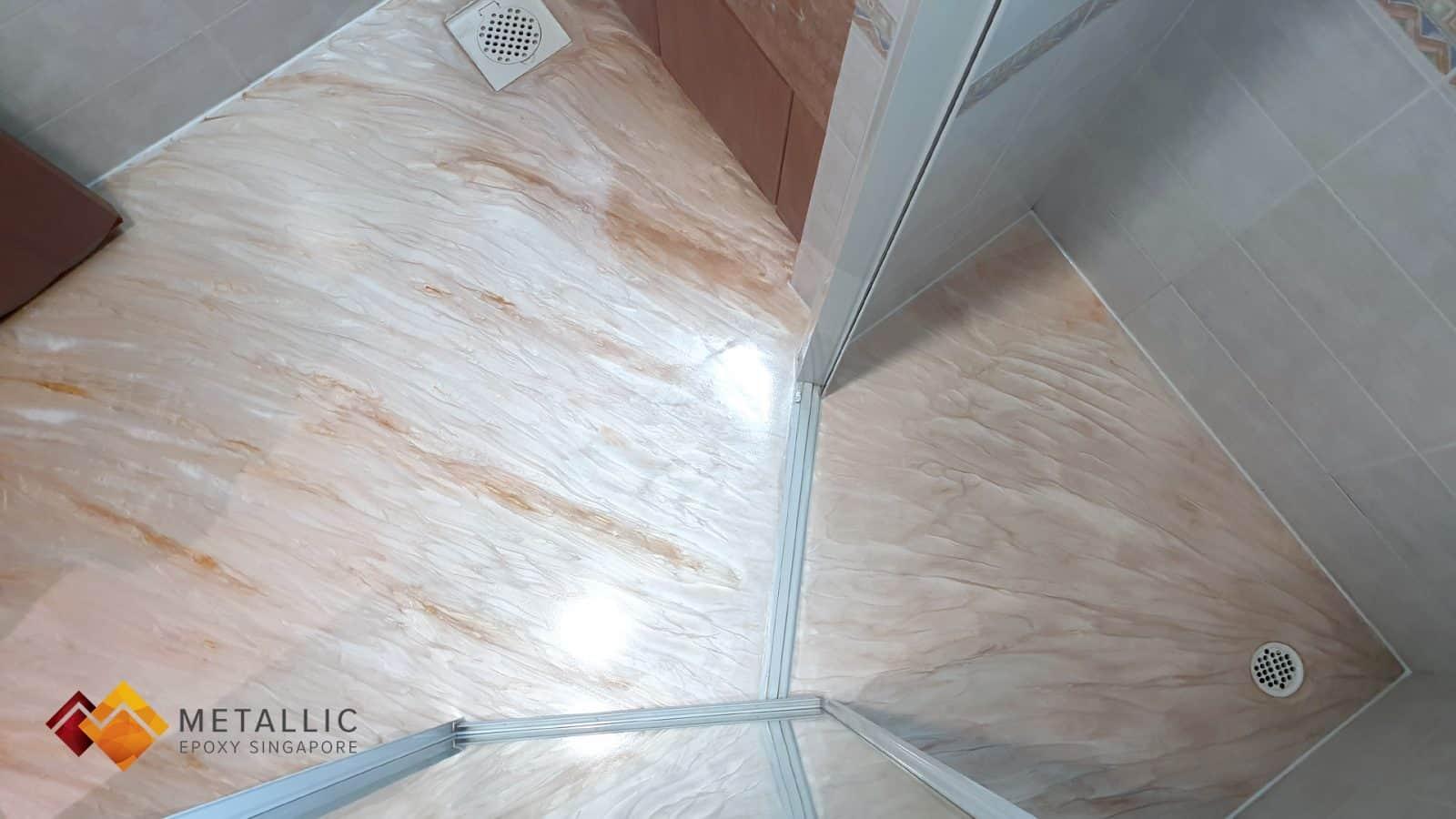 metallic epoxy singapore orange wood bathroom floor