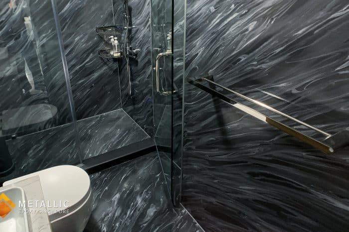 Diagonal Titanium Marble Bathroom